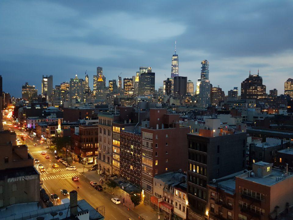Vista di New York al tramonto.