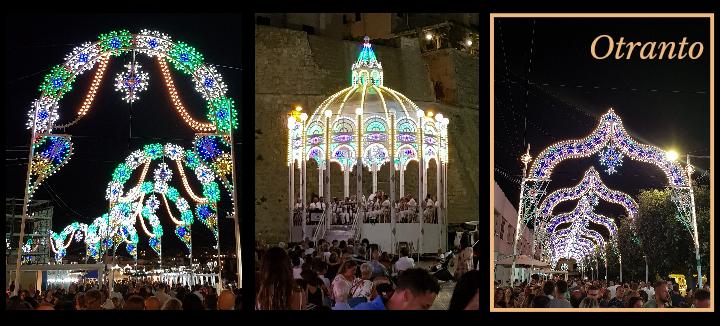Otranto - 3 vedute del paese di sera addobbato con le tipiche luminarie